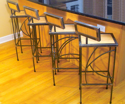 Oak and steel stools
