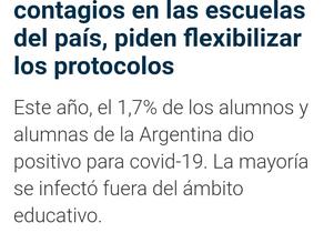 Tras conocer la cifra de contagios en las escuelas del país, piden flexibilizar los protocolos