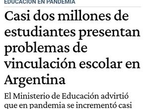 Casi dos millones de estudiantes presentan problemas de vinculación escolar en Argentina