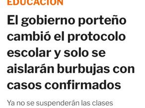 El gobierno porteño cambió el protocolo escolar: sólo se aislarán burbujas con casos confirmados