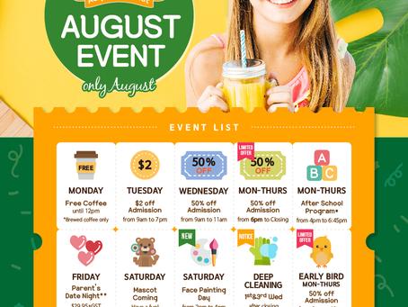 AUGUST EVENT CALENDAR