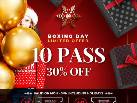 10 PASS 30% OFF ON BOXING DAY