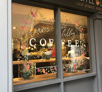 Window illustration for a coffee shop
