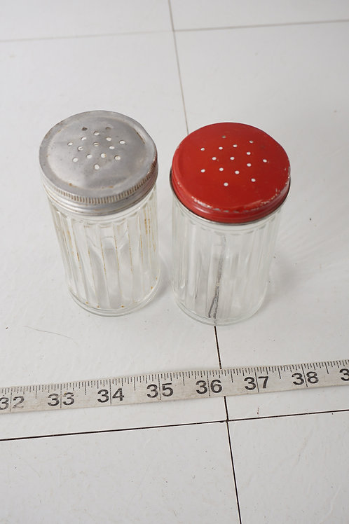 Pair Of Spice Glass Shakers For Hoosier Cabinet