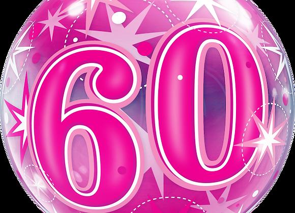 60 Pink Starburst Sparkle- Qualatex Bubble Balloon