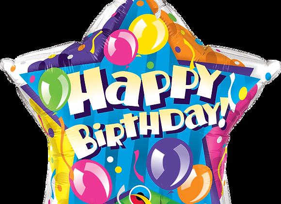 Happy Birthday Star Balloon- Qualatex Small Foil Balloon