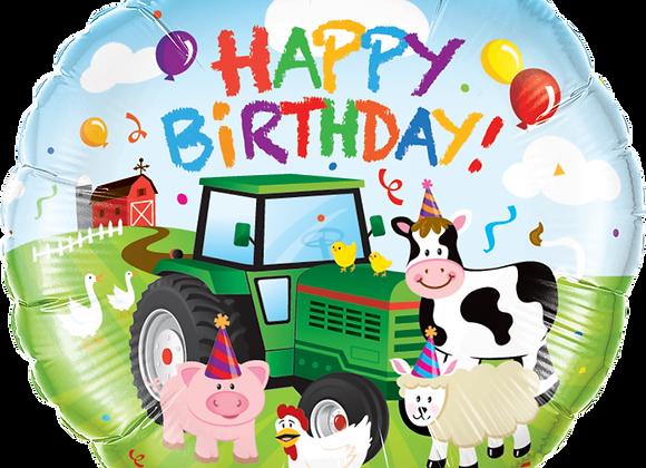 Farm - Happy Birthday - Qualatex Small Foil Balloon