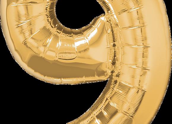 Gold - 9 - Qualatex Large Foil Balloon