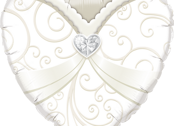 - Just Bodice - Silver and White -  Qualatex Small Foil Balloon