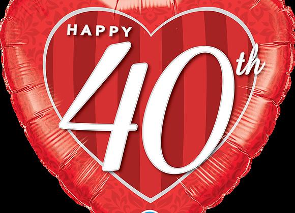 40th Anniversary Heart - Qualatex Small Foil Balloon