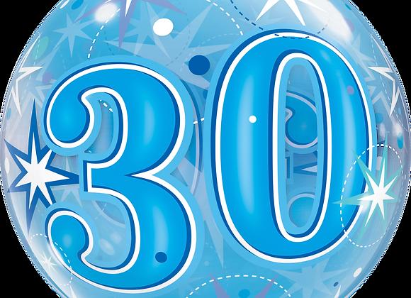 30 Blue Starburst Sparkle - Qualatex Bubble Balloon