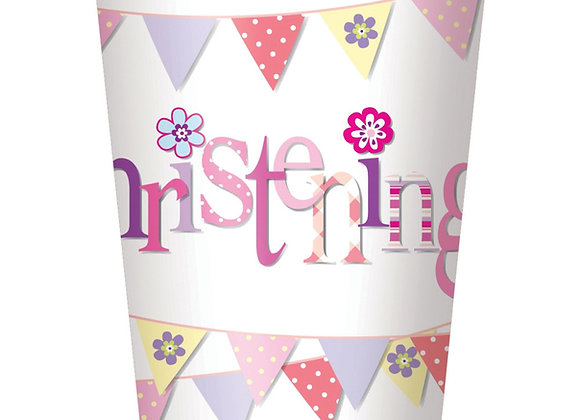 Cups - Pink Bunting Christening