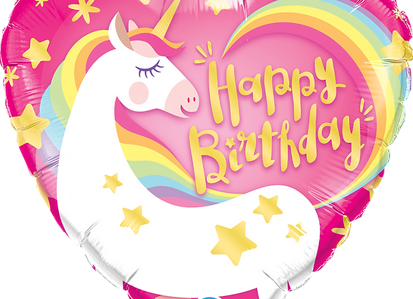 Happy Birthday - Unicorn - Heart - Qualatex Small Foil Balloon