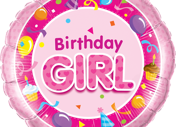Birthday Girl - Cake Balloons - Pink - Qualatex Small Foil Balloon