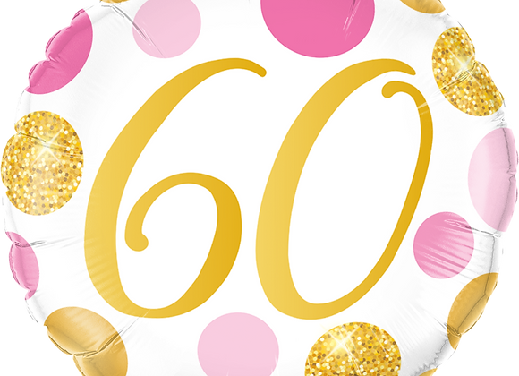 Gold and Pink 60 - Qualatex Small Foil Balloon