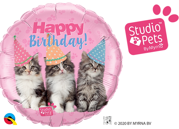 Happy Birthday - Kittens - Qualatex Small Foil Balloon