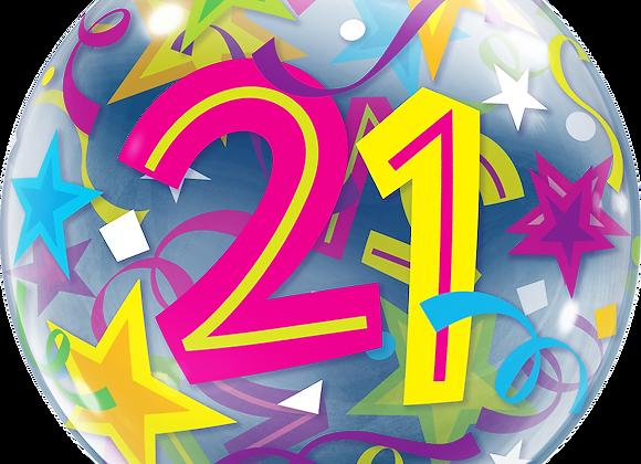 21 Brilliant Stars - Qualatex Bubble Balloon