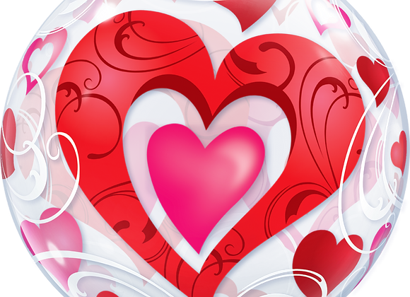 Double Hearts - Qualatex Bubble Balloon