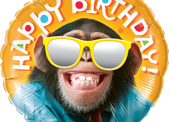 Happy Birthday - Monkey - Reflective Glasses - Qualatex Small Foil Balloon