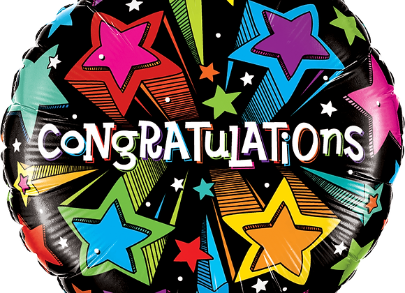 Congratulations - Shooting Stars - Qualatex Small Foil Balloon