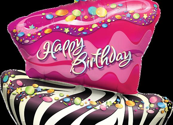 Happy Birthday - Cake Slice - Qualatex Large Foil Balloon