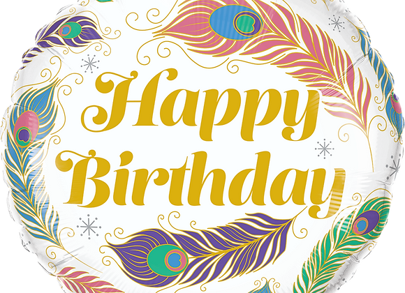 Happy Birthday Peacock Feathers - Qualatex Small Foil Balloon