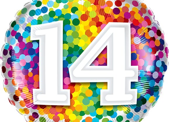Rainbow Confetti - 14 - Qualatex Small Foil Balloon