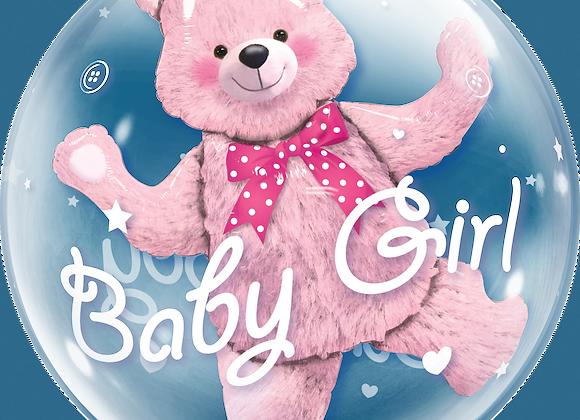 Baby Girl - Pink Teddy - Qualatex Double Bubble Balloon