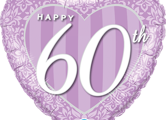 60th Anniversary Heart - Qualatex Small Foil Balloon