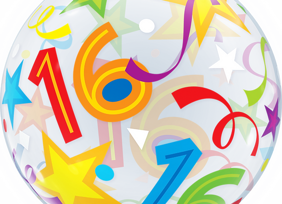 16 Brilliant Stars - Qualatex Bubble Balloon