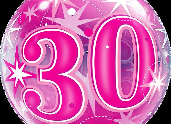 30 Pink Starburst Sparkle - Qualatex Bubble Balloon