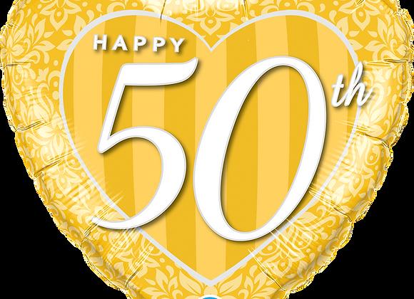 50th Anniversary Heart - Qualatex Small Foil Balloon