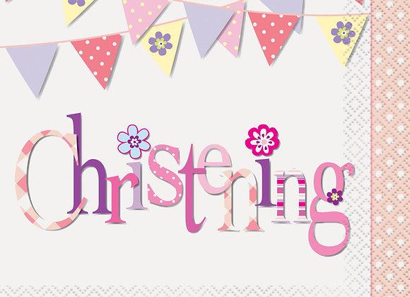 Napkins - Pink Bunting Christening