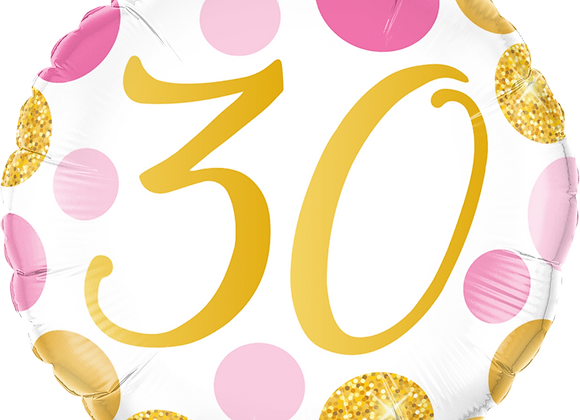 Gold and Pink 30 - Qualatex Small Foil Balloon