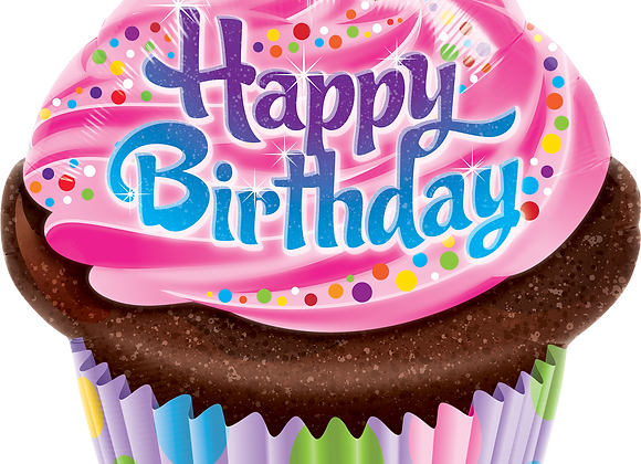 Happy Birthday - Cup Cake - Qualatex Large Foil Balloon
