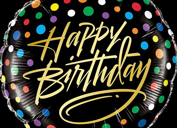 Birthday Gold Script and Dots -  Qualatex Small Foil Balloon