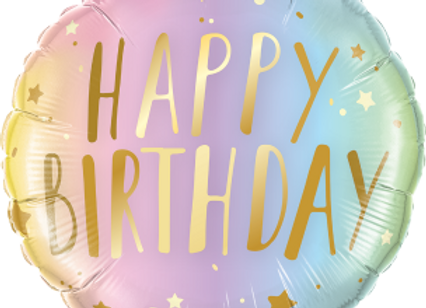 Birthday Pastel Ombre and Stars  -  Qualatex Small Foil Balloon