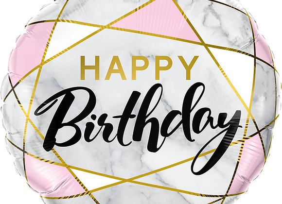 Happy Birthday Marble Rectangles Pink -  Qualatex Small Foil Balloon