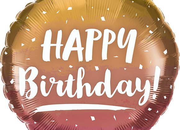 Happy Birthday Gold & Rose Gold Ombre -  Qualatex Small Foil Balloon