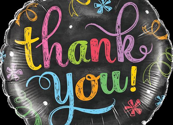 Multi coloured chalk board Thank You - Qualatex Small Foil Balloon