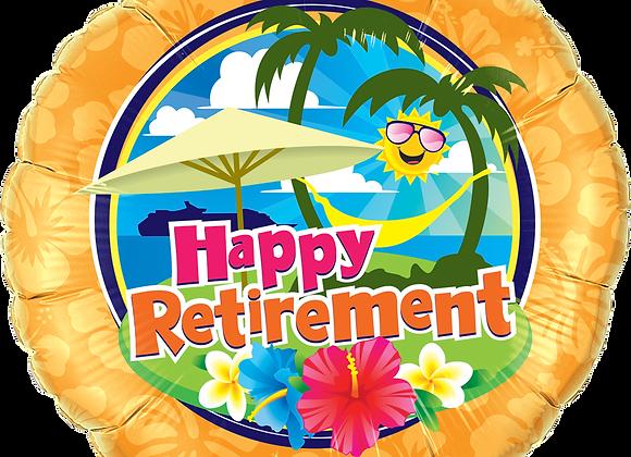 Happy Retirement - Hammock- flowers -  Qualatex Small Foil Balloon