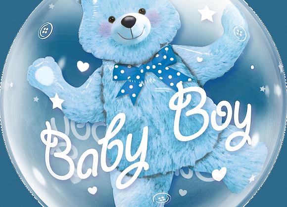 Baby Boy - Blue Teddy - Qualatex Bubble Balloon