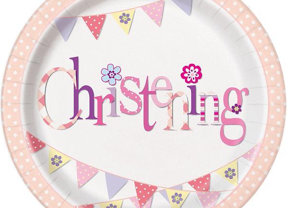 Plates - Pink Bunting Christening