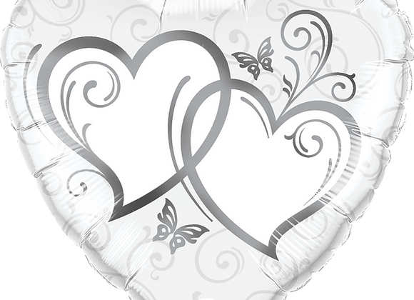 Entwined Heart - Silver and White -  Qualatex Small Foil Balloon