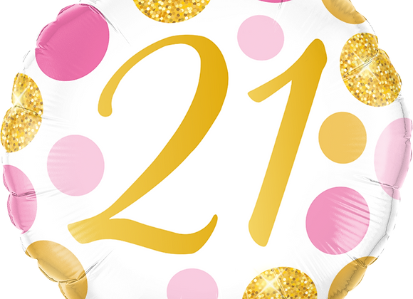 Gold and Pink 21 - Qualatex Small Foil Balloon