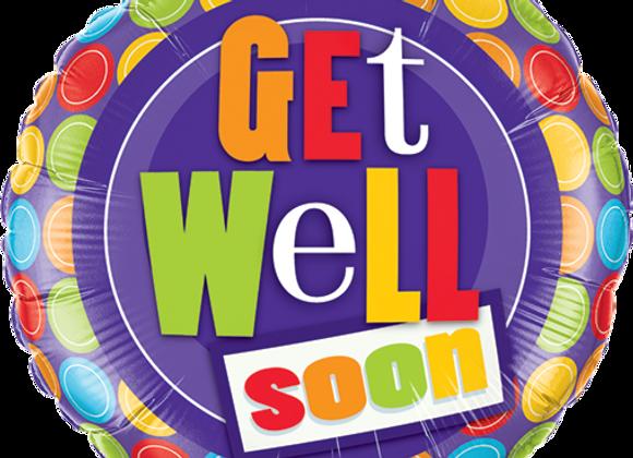 Get Well Soon - Dots -  Qualatex Small Foil Balloon