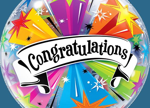 Congratulations Stars - Qualatex Bubble Balloon