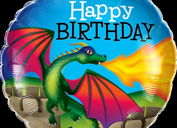Happy Birthday - Dragon - Qualatex Small Foil Ballo