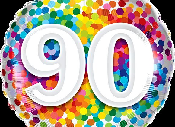 Rainbow Confetti - 90 - Qualatex Small Foil Balloon