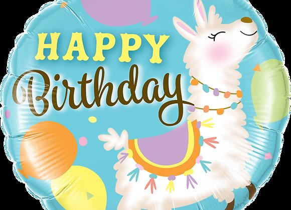 Happy Birthday - Lama - Qualatex Small Foil Balloon